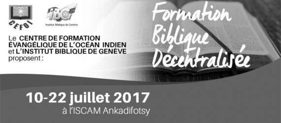 Formation Biblique Décentralisée CEFOI et IBG